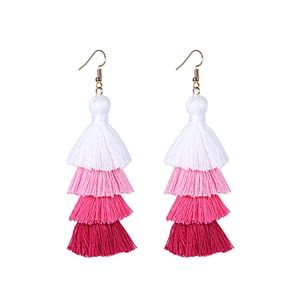 Jewelry - NEW! Pink Ombre Tiered Fringe Tassel Earrings